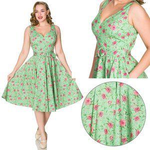 Timeless London Freya Green Floral Swing Dress